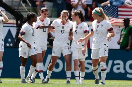 May 26, 2019; Harrison, NJ, USA; United States forward Tobin Heath (17) celebrates with teammates after scoring a goal during the first half against the Mexico in a Countdown to the Cup Women's Soccer match at Red Bull Arena. Mandatory Credit: Vincent Carchietta-USA TODAY Sports