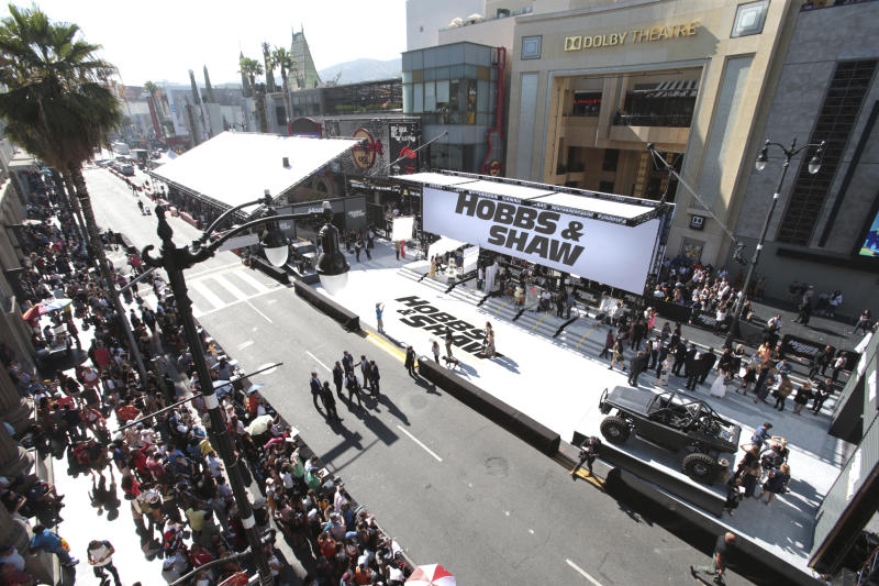 General view of atmosphere at Universal Pictures World Premiere of FAST & FURIOUS PRESENTS: HOBBS & SHAW at the Dolby Theater on Saturday, July 13th, 2019, in Hollywood, Calif. (Photo by Blair Raughley/Invision for Universal Pictures/AP Images)