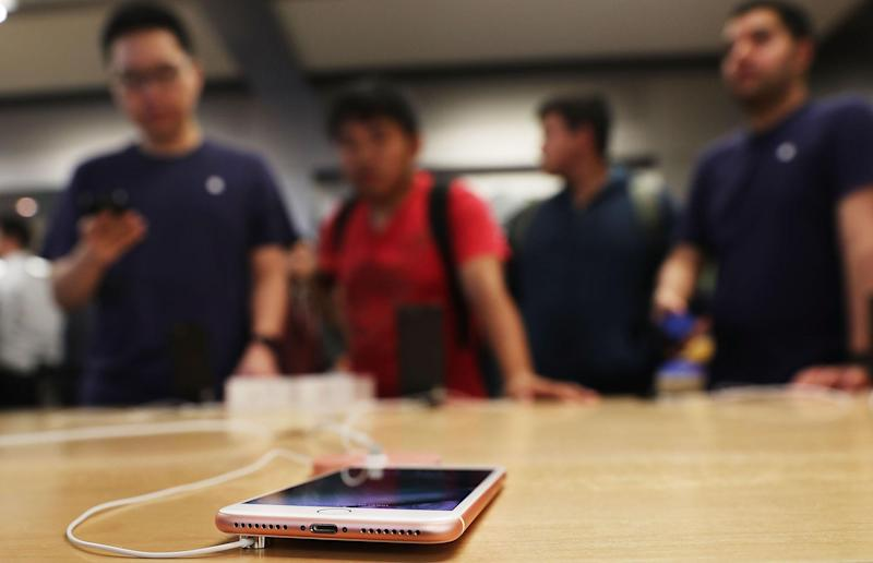 The new iPhone 7 is displayed on a table at an Apple store in Manhattan on September 16, 2016 in New York City: Spencer Platt/Getty Images