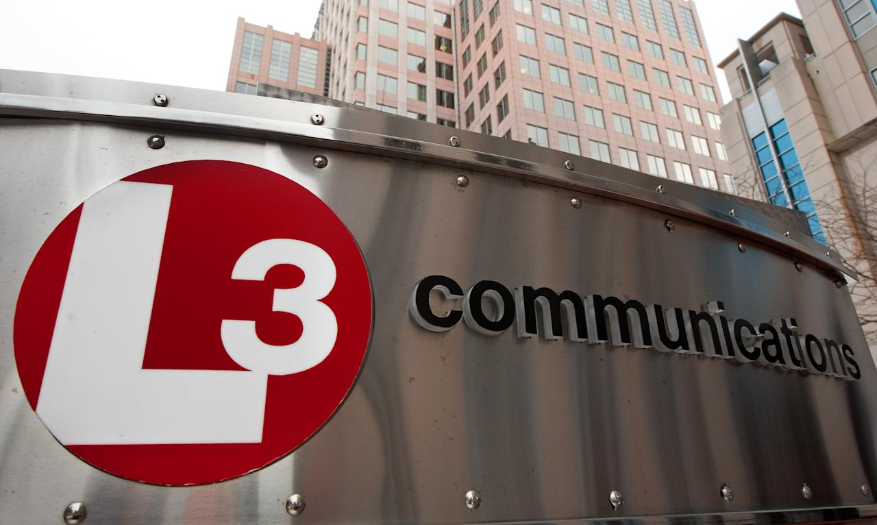 The L3 Communications sign is seen outside their Reston, Virginia, offices December 22, 2009.                    AFP Photo/Paul J. Richards (Photo credit should read PAUL J. RICHARDS/AFP/Getty Images)