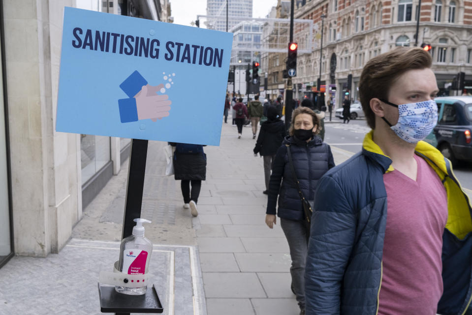 Free hand sanitiser is available for Oxford Street shoppers to maintain personal hygiene, according to government guidelines during the second wave of the UK Coronavirus pandemic, on 30th October 2020, in London, England. (Photo by Richard Baker / In Pictures via Getty Images)