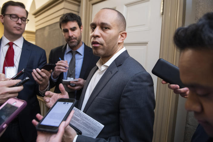 Democratic Caucus Chair Hakeem Jeffries, D-N.Y., talks with reporters after a meeting with House leaders in the Capitol on the coronavirus aid package on March 13, 2020. (Tom Williams/CQ Roll Call via Getty Images)