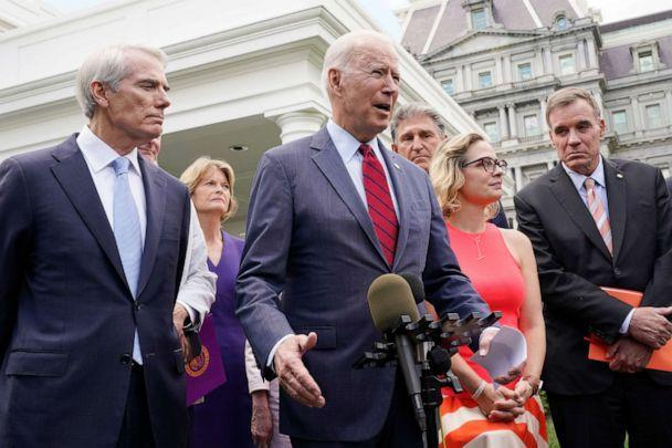 PHOTO: President Joe Biden, with a bipartisan group of senators, speaks Thursday, June 24, 2021, outside the White House in Washington. Biden invited members of the group of 21 Republican and Democratic senators to discuss the infrastructure plan. (Jacquelyn Martin/AP)