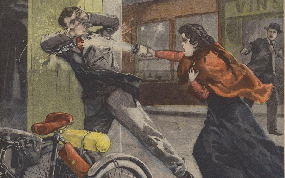 Revenge with vitriol: a turn-of-the-century colour lithography depicting an early acid attack - Copyright: www.bridgemanimages.com