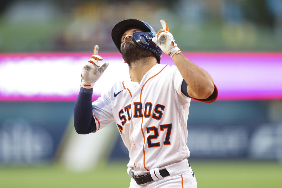 Jose Altuve had a first-inning homer and an RBI double to lead the Astros to a Game 4 victory. (Photo by Alex Trautwig/MLB Photos via Getty Images)