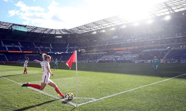 Toni Duggan takes a corner during England's game against Germany at the SheBelieves Cup in the United States, a tournament the team flew economy to.