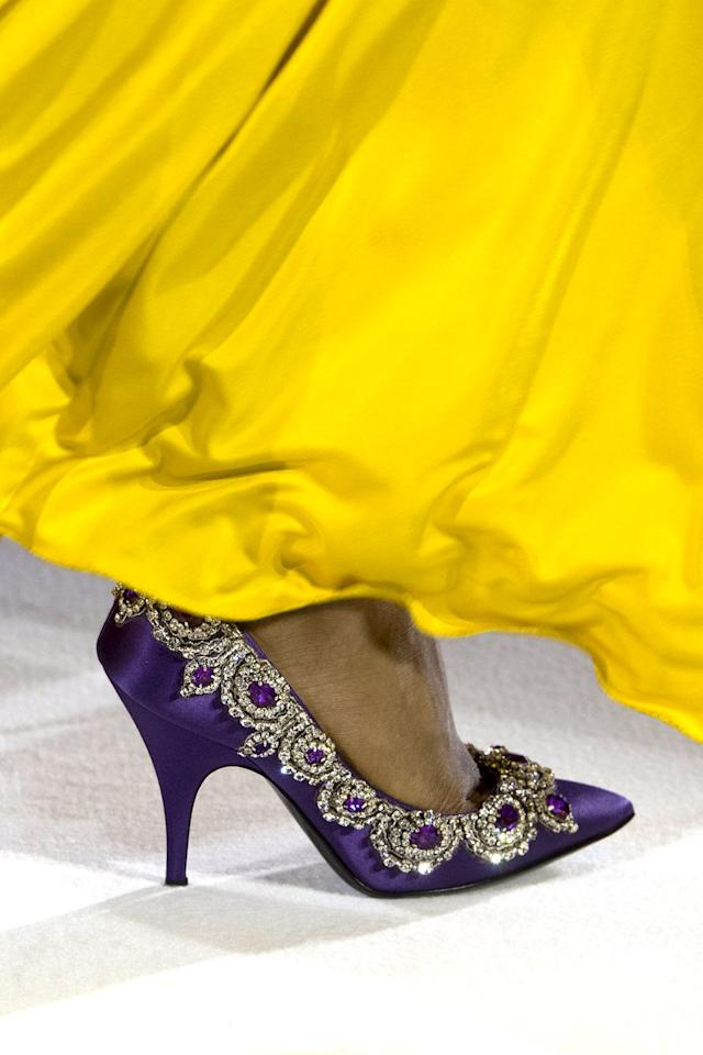 <p>Fancy up your toes with jewelry on your shoes.  How divine!</p><p><em>Moschino</em> </p>