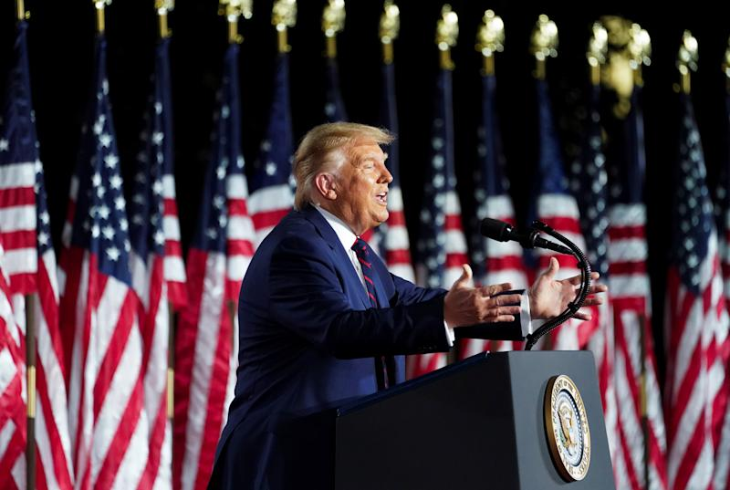 President Trump delivers his acceptance speech as the 2020 Republican presidential nominee during the final event of the Republican National Convention on the South Lawn of the White House on Aug 27. (Kevin Lamarque/Reuters)