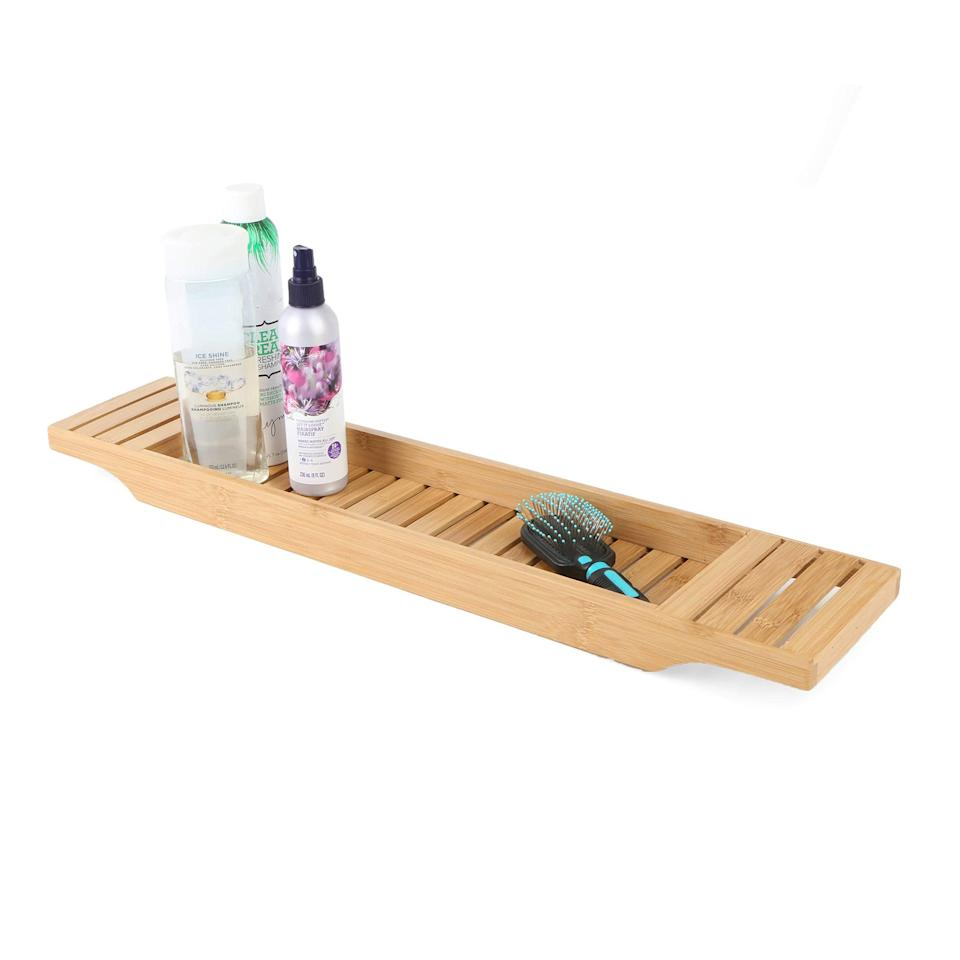 "<br><br><strong>Mind Reader</strong> Bamboo Bathtub Tray, Brown Bath Caddy, $, available at <a href=""https://amzn.to/3a9dPqO"" rel=""nofollow noopener"" target=""_blank"" data-ylk=""slk:Amazon"" class=""link rapid-noclick-resp"">Amazon</a>"