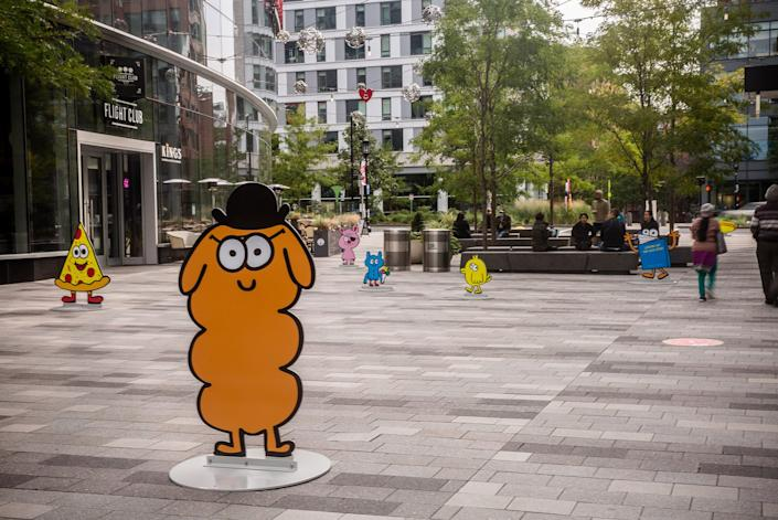 Warm-hearted doodles from artist Jon Burgerman are brought to life in the Boston Seaport's new
