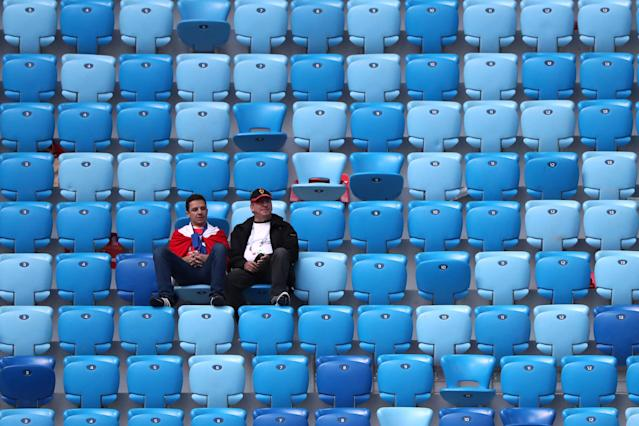 Soccer Football - World Cup - Group E - Brazil vs Costa Rica - Saint Petersburg Stadium, Saint Petersburg, Russia - June 22, 2018 Costa Rica fans look dejected after the match REUTERS/Marcos Brindicci