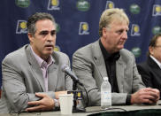 Kevin Pritchard, left, talks about his role as the new general manger of the Indiana Pacers as Larry Bird listens during an announcement by the NBA basketball team in Indianapolis, Wednesday, June 27, 2012. Bird stepped down as president of the team and will be replaced by Donnie Walsh. (AP Photo/Michael Conroy)