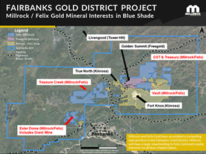 Figure 4. Blue shading indicates Millrock / Felix Gold mineral land holdings in the Fairbanks Gold District, Alaska.