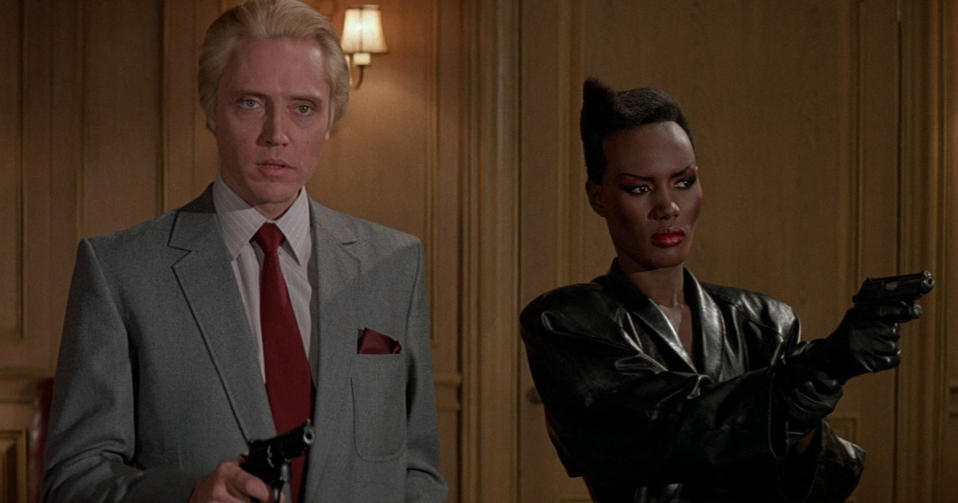 Christopher Walken and Grace Jones in 'A View to a Kill'. (Credit: Eon)