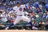 Chicago Cubs starting pitcher Adbert Alzolay delivers in the first inning of a baseball game against the San Diego Padres Wednesday, June 2, 2021, in Chicago. (AP Photo/Charles Rex Arbogast)