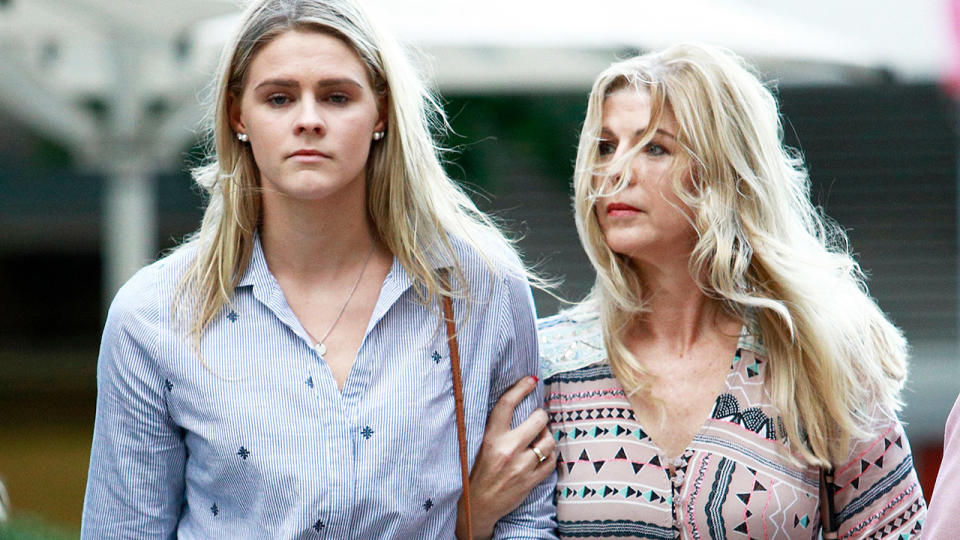Shayna Jack, pictured here after a hearing in Brisbane with the Australian Sports Anti-Doping Agency.