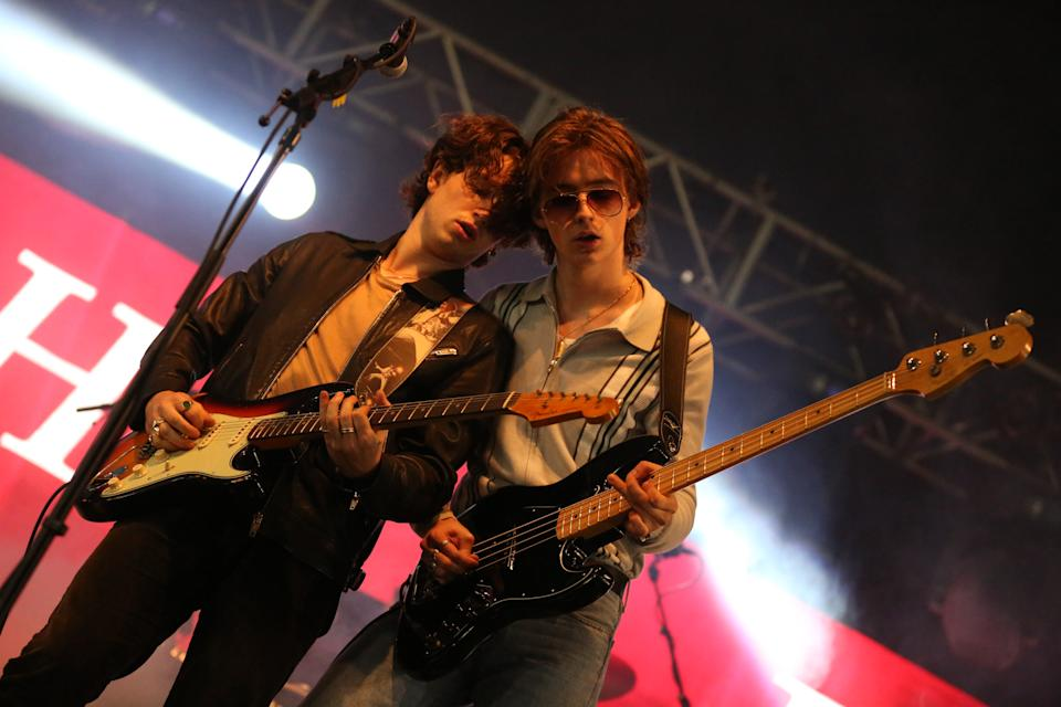 STRADBALLY, IRELAND - AUGUST 31: Elijah Hewson and Robert Keating of Inhaler performs on stage during Electric Picnic Music Festival 2019 at Stradbally Hall Estate on August 31, 2019 in Stradbally, Ireland. (Photo by Debbie Hickey/Getty Images)