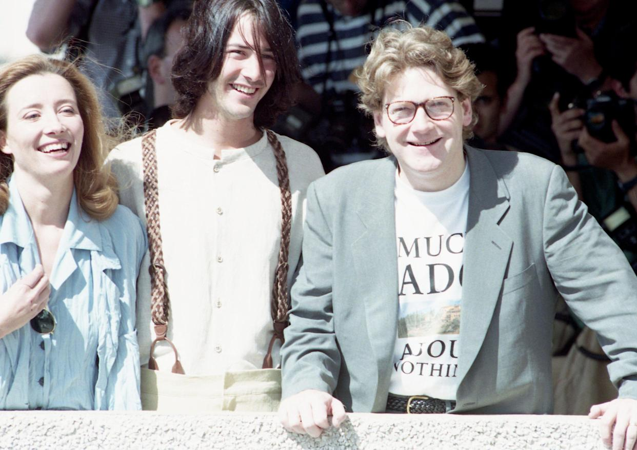British Producer-director-actor Kenneth Branagh, right, poses with his Oscar-winning wife Emma Thompson, left, and Keanu Reeves, centre on May 21, 1993. The latest film from Kenneth Branagh's renaissance company is a modern day interpretation of Shakespeare's comedy Much Ado About Nothing, screening in competition for Britain, in the 46th International Film Festival in Cannes. (AP Photo/Michel Lipchitz)