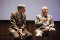 """Craig Venter (R) speaks with Eric Topol, Scripps Health chief academic officer and director of the Scripps Translational Science Institute, during a symposium on """"The Future of Genomic Medicine"""" at Scripps Seaside Forum in La Jolla, California March 6, 2014. REUTERS/Sam Hodgson"""