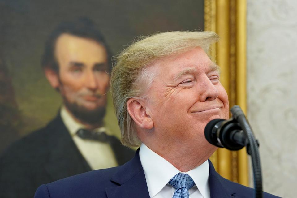 President Donald Trump has often name-dropped Abraham Lincoln in boasting of his record on race. (Kevin Lamarque/Reuters)