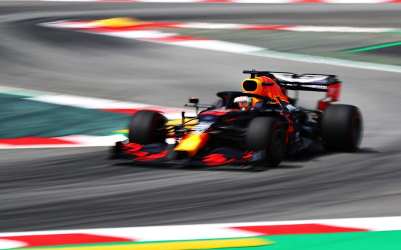 Max Verstappen of the Netherlands driving the (33) Aston Martin Red Bull Racing RB16 on track during practice for the F1 Grand Prix of Spain at Circuit de Barcelona-Catalunya on August 14, 2020 in Barcelona, Spain - Dan Istitene - Formula 1