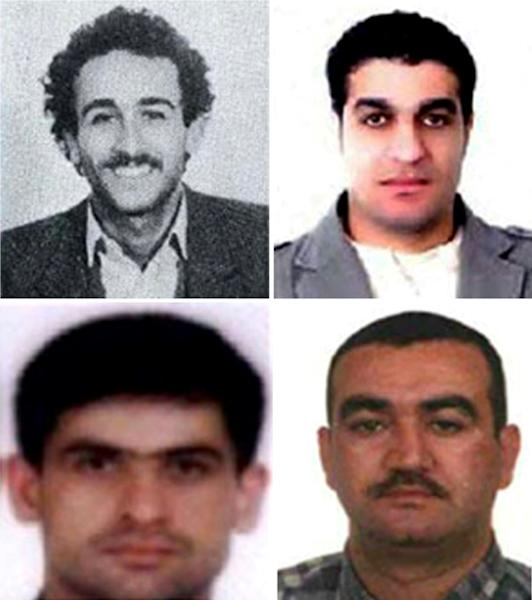 Clockwise from top L: Mustafa Amine Badreddine, Assad Hassan Sabra, Salim Jamil Ayyash and Hussein Hassan Oneissi