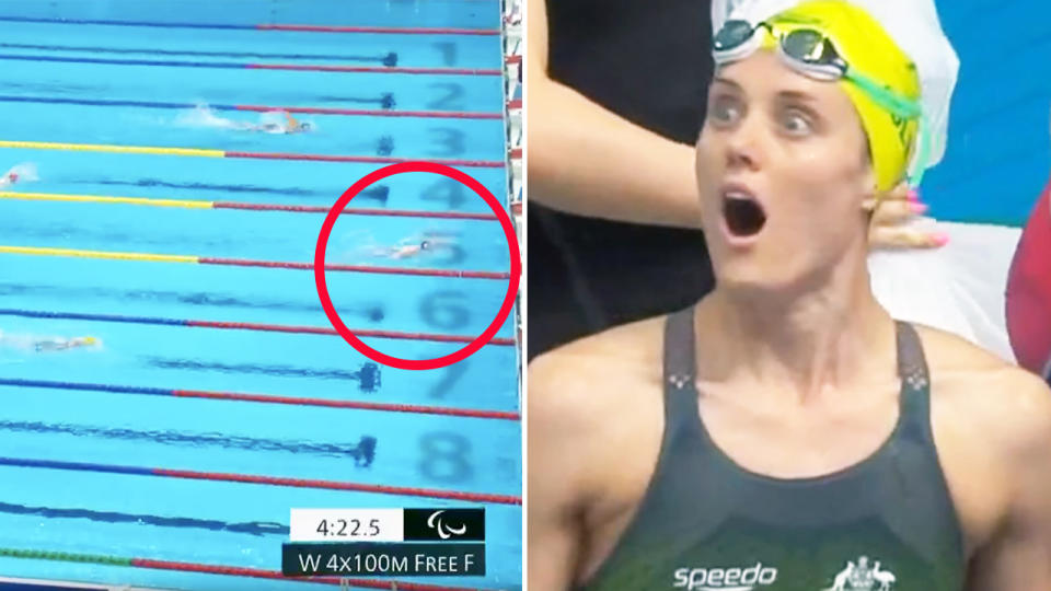 Ellie Cole, pictured here in shock after USA were disqualified from the relay.