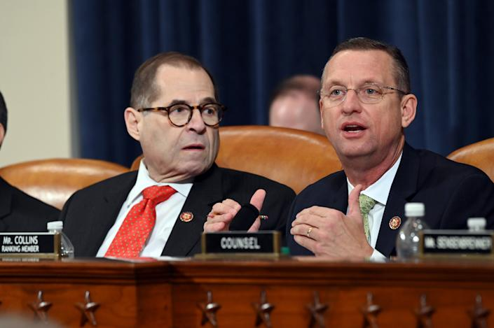House Judiciary Committee ranking member Rep. Doug Collins, R-Ga., right, speaks as Chairman Rep. Jerrold Nadler, D-N.Y., listens during the markup of H.Res. 755, Articles of Impeachment Against President Donald J. Trump in Washington, DC on Dec. 12, 2019.