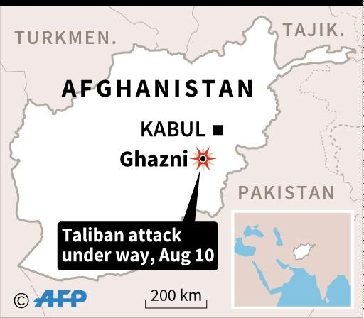 Map of Afghanistan locating a Taliban attack in Ghazni which began on August 10 (AFP Photo/AFP)