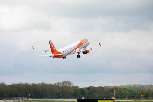 A flight to Faro in Portugal takes off at Gatwick Airport