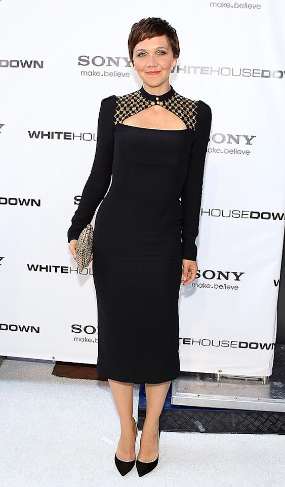 """WASHINGTON, DC - JUNE 21:  Actress Maggie Gyllenhaal arrives at the """"White House Down"""" Washington DC Premiere at AMC Georgetown on June 21, 2013 in Washington, DC.  (Photo by Paul Morigi/WireImage)"""
