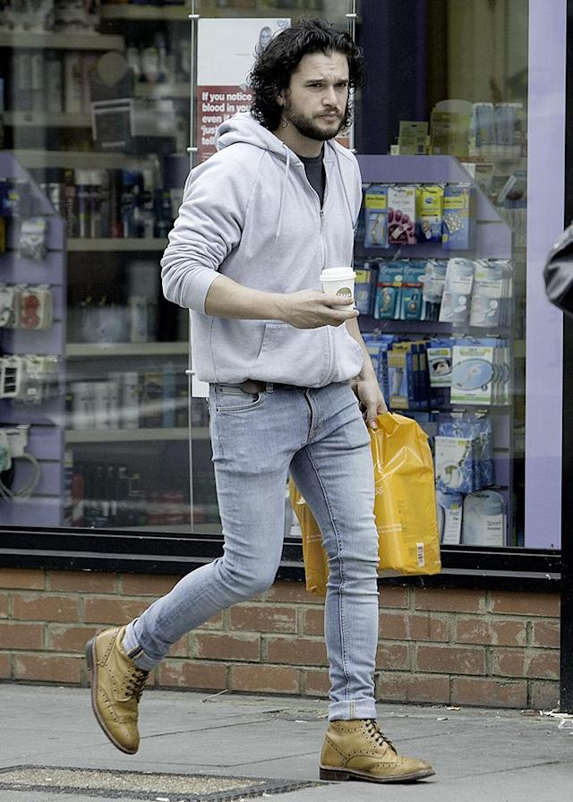 "<p>In London, shopping was on the agenda for the <a href=""https://www.yahoo.com/entertainment/kit-harington-hilariously-reveals-ruined-160645498.html"" data-ylk=""slk:newly engaged;outcm:mb_qualified_link;_E:mb_qualified_link"" class=""link rapid-noclick-resp newsroom-embed-article"">newly engaged</a> <em>Game of Thrones</em> co-star on his day off. (Photo: Ray Crowder/GC Images) </p>"