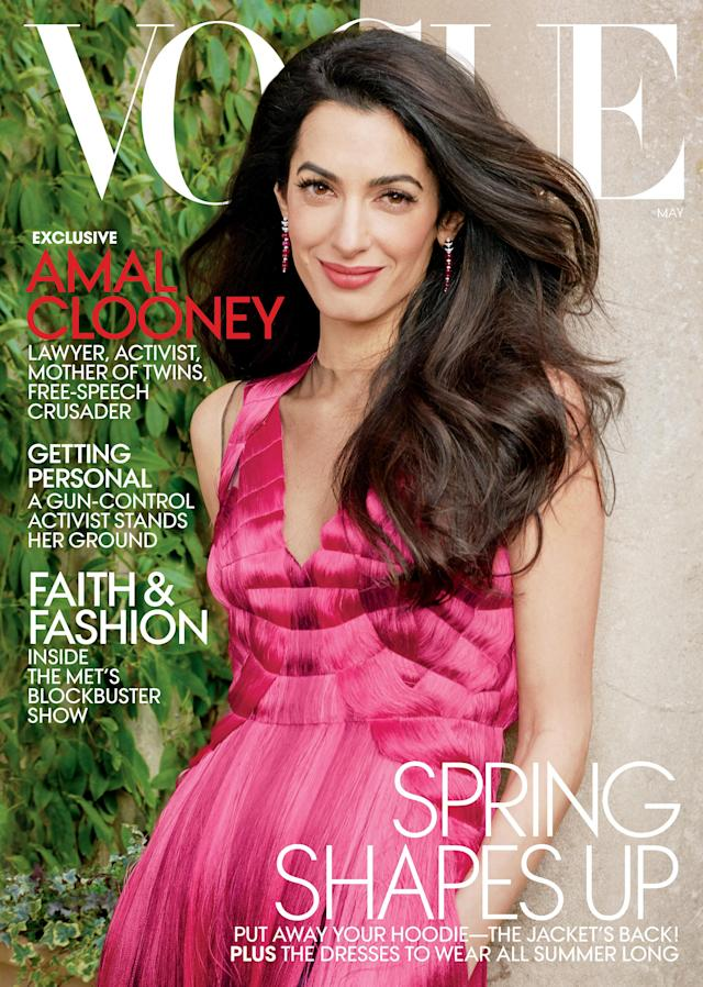 Amal Clooney wears Alexander McQueen for her first <em>Vogue</em> cover. (Photo: Annie Leibovitz/Vogue)