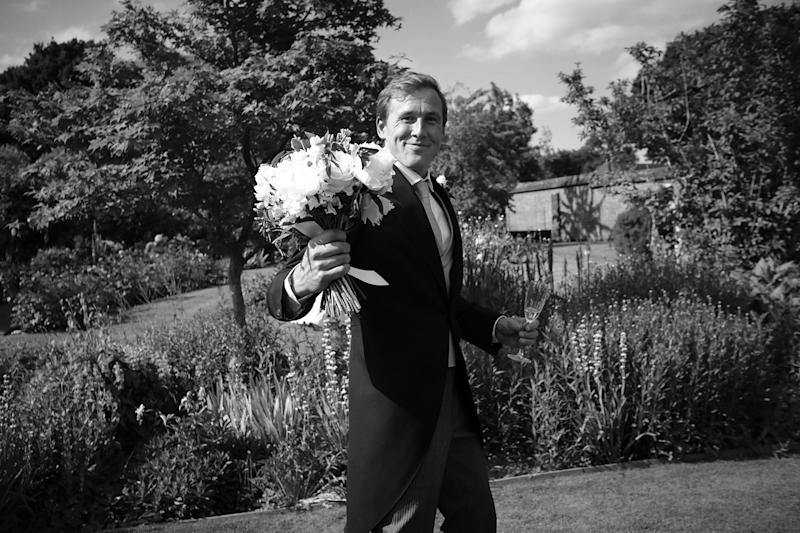 Jake holding the bouquet for me: already performing husbandly duties with aplomb