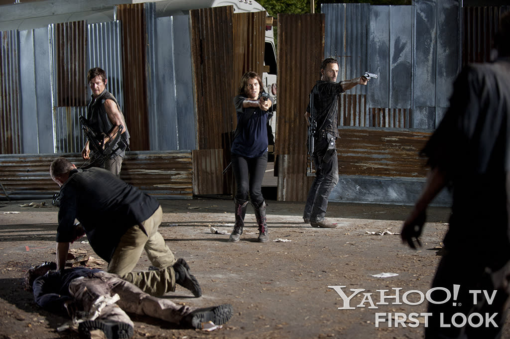 "Merle Dixon (Michael Rooker), Daryl Dixon (Norman Reedus), Maggie Greene (Lauren Cohan) and Rick Grimes (Andrew Lincoln) in ""The Walking Dead"" Season 3 episode ""The Suicide King."""