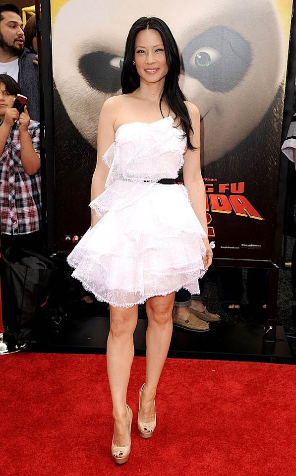 """What do you make of the delicate Marchesa dress Lucy Liu wore to the Los Angeles premiere of """"Kung Fu Panda 2""""? Juvenile or just right? Steve Granitz/<a href=""""http://www.wireimage.com"""" target=""""new"""">WireImage.com</a> - May 22, 2011"""