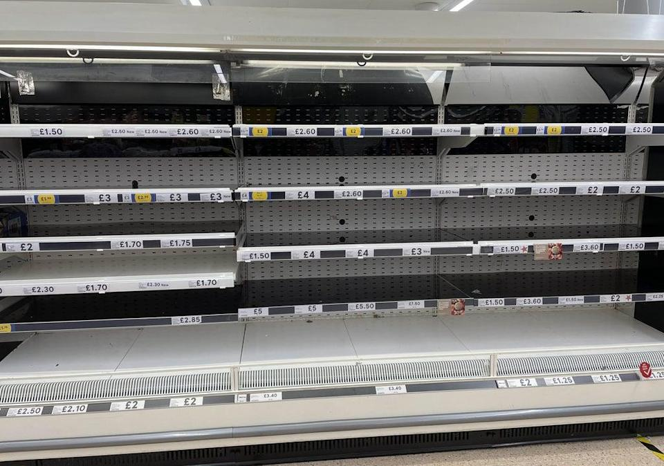 Empty shelves in the meat aisle of a branch of Tesco in Liverpool (Peter Byrne/PA) (PA Wire)
