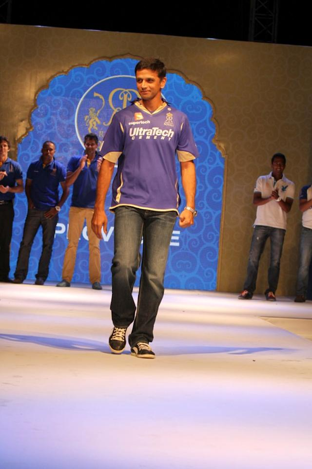 Rajasthan Royals' skipper Rahul Dravid on the ramp at the Rajasthan Royals-Provogue Fanwear Launch at Hotel Marriott in Jaipur on Monday
