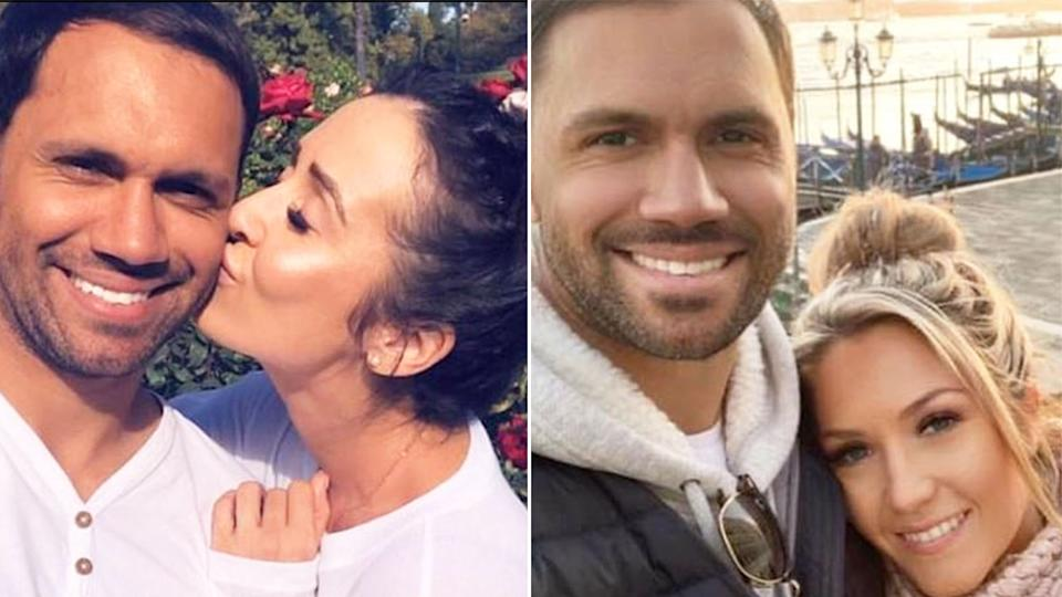Josh Hill is pictured with Kara Wicks on the left and fiancee Jo Duffy on the right. Pic: Instagram