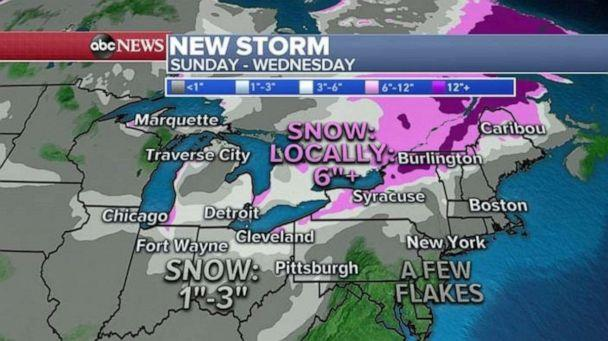 PHOTO: Northern New York could see 6 inches of snow or more in the beginning of the week ahead. (ABC News)
