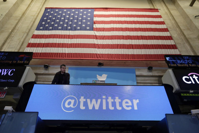 Stocks sink on Fed worries, but Twitter surges