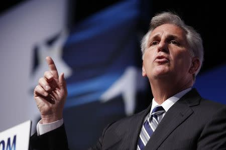 "U.S. House Majority Leader-elect Rep. Kevin McCarthy gestures on the second day of the 5th annual Faith & Freedom Coalition's ""Road to Majority"" Policy Conference in Washington"