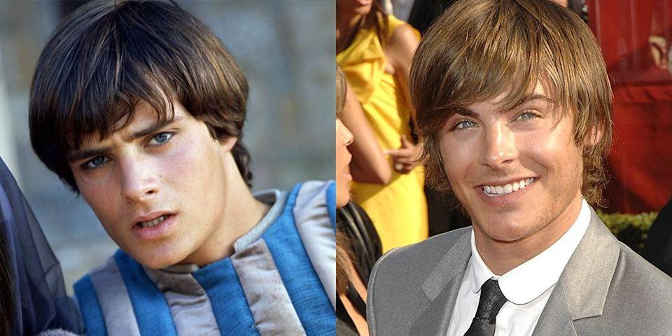<p>It's no surprise that Leonard Whiting and Zac Efron were both teen heartthrobs in their heyday. From their piercing blue eyes to their chiseled jaws, Efron is the spitting image of the <em>Romeo and Juliet </em>actor. </p>
