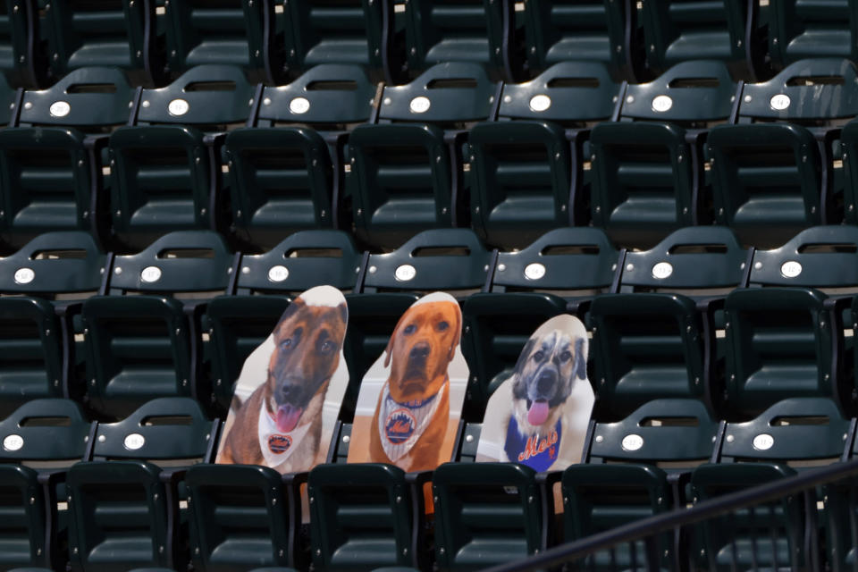 Cutouts of New York Mets players' dogs are displayed in the stands during a baseball game against the Atlanta Braves, Saturday, July 25, 2020, in New York. The likeness on the right of 1-year-old Willow, a puppy owned by the Mets' Jeff McNeil, was hit by a home run off the bat of Atlanta's Adam Duvall on Saturday. (AP Photo/Adam Hunger)