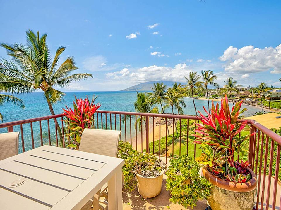 """<a href=""""http://airbnb.pvxt.net/QdamY"""" rel=""""nofollow noopener"""" target=""""_blank"""" data-ylk=""""slk:Maui Oceanfront Penthouse"""" class=""""link rapid-noclick-resp""""><h3>Maui Oceanfront Penthouse</h3></a><br>Welcome to your dream vacation in Maui! Nothing says tropical escape like Hawaii. This top-floor oceanfront condo offers incredible views of the Pacific Ocean waves, beach activity, and vibrant sunsets. Plus, enjoy access to a secluded sandy beach just steps away.<br><br><strong>Location: </strong>Kihei, HI<br><strong><br>Price Per Night: </strong>$229<span class=""""copyright"""">Photo: Courtesy of Airbnb</span>"""
