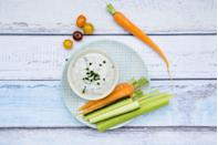 <p>An oldie but a goodie, carrots have lots of fiber and nutrients like beta-carotene. A little dollop of ranch dressing will serve up a flavor kick and a little fat to help you feel full.</p>