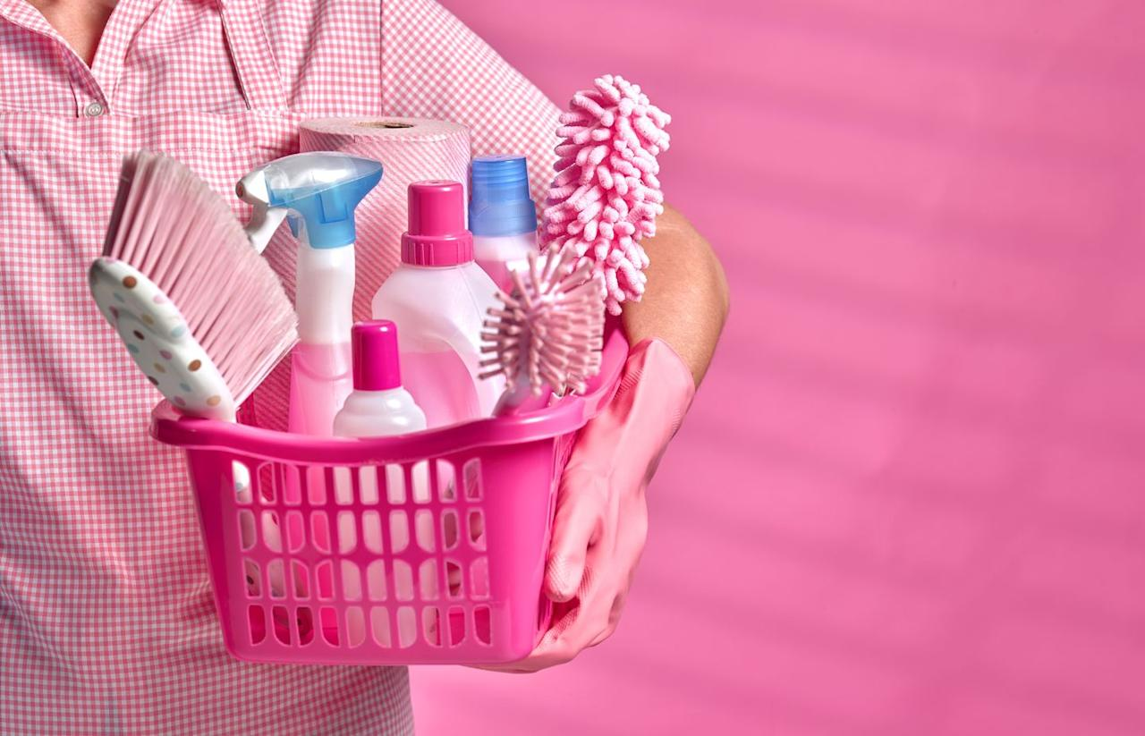 """<p>If no one in the house is sick, there's no need to go crazy. Depending on the size of your household and how often everyone goes in and out, <strong>every other day or two to three times a week should be adequate for cleaning, sanitizing, and disinfecting</strong> highly-touched surfaces. If someone in your house is ill, it's recommended to keep them isolated and to clean surfaces and surroundings daily.</p><p>Before you get cleaning, remember to <strong>check the labels on your disinfectants.</strong> """"Sanitizing"""" significantly reduces the number of germs and can take a fraction of the time of disinfecting, which kills more germs than sanitizing does. Disinfecting can up to 10 minutes, so be sure you know how to use your products correctly.</p>"""