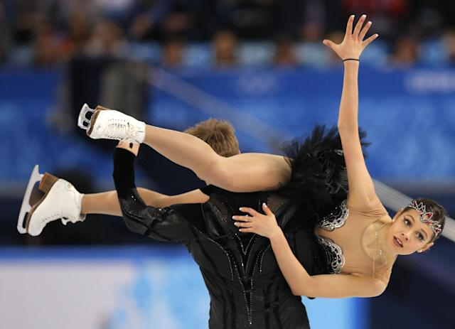 Elena Ilinykh and Nikita Katsalapov of Russia compete in the ice dance free dance figure skating finals at the Iceberg Skating Palace during the 2014 Winter Olympics, Monday, Feb. 17, 2014, in Sochi, Russia. (AP Photo/Vadim Ghirda)