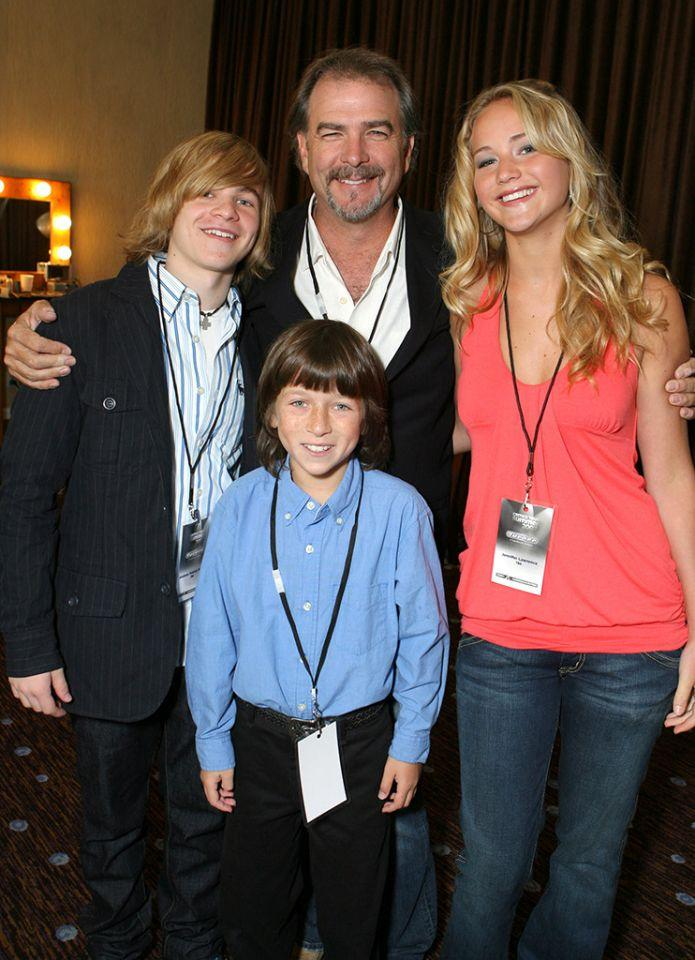 <p>Lawrence's first first major role comes as a main cast member on the short-lived cable comedy <i>The Bill Engvall Show</i>. She poses with co-stars Graham Patrick Martin, Skyler Gisondo, and Bill Engvall at the TBS Summer Press Tour on July 15, 2007. (Photo: Getty Images)> </p>