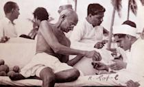 Mohandas Karamchand Gandhi (1869 – 1948), the preeminent leader of the Indian independence movement in British-ruled India. Employing nonviolent civil disobedience, Gandhi led India to independence and inspired movements for civil rights and freedom across the world. (Photo by: Universal History Archive/Universal Images Group via Getty Images)